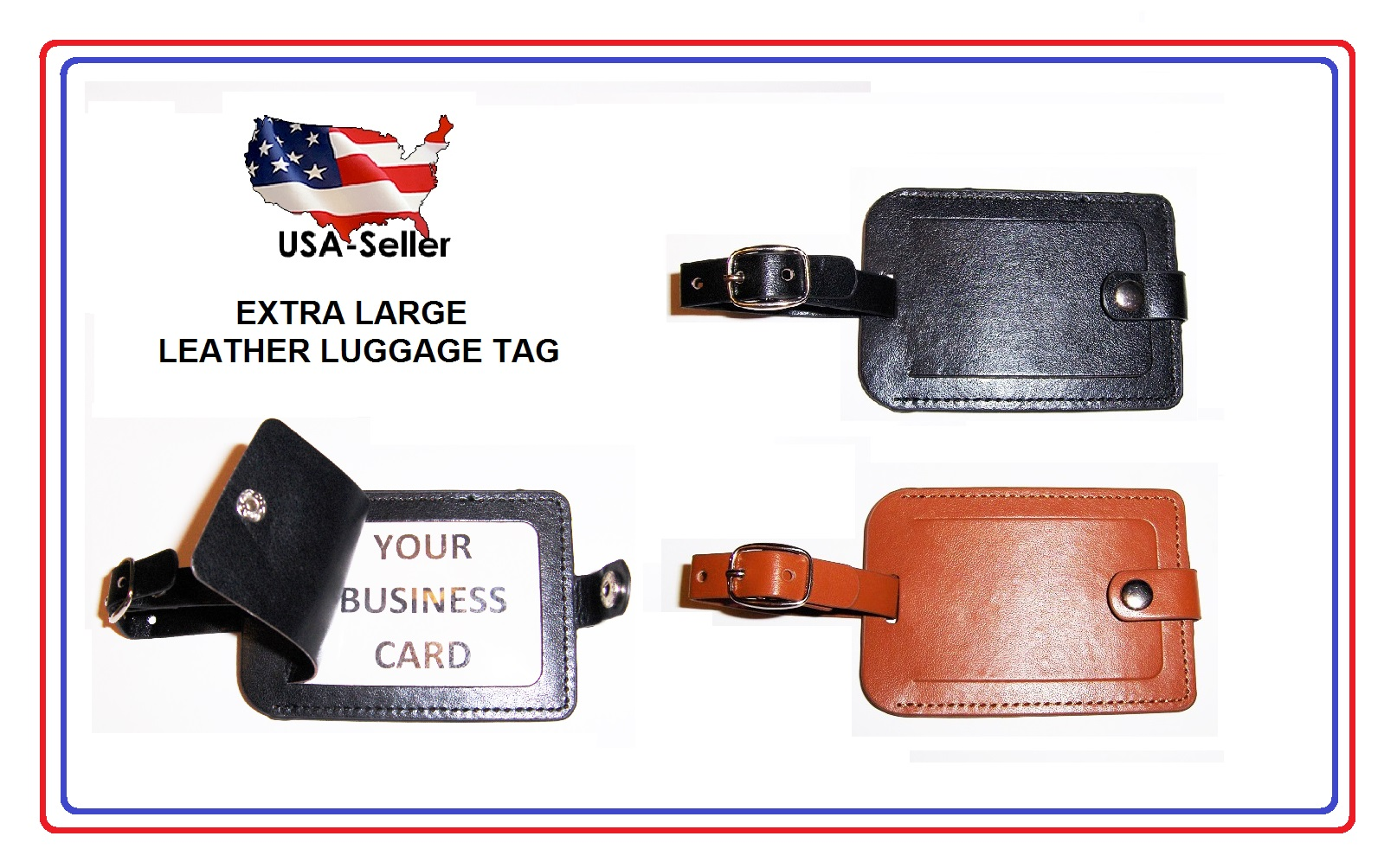 7886819bc65c Details about LUGGAGE TAG - LEATHER - STICHED - NICE! EXCELLENT QUALITY